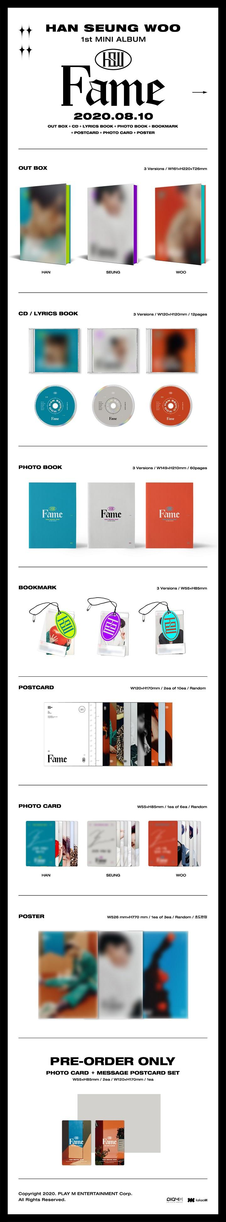 HAN SEUNG WOO -1st Mini [Fame] (WOO ver.) + Poster